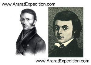 Johann Jacob Friedrich Wilhelm Parrot and Khachatur Abovian. First ascenders of the summit of Mount Ararat at October 9, 1829.